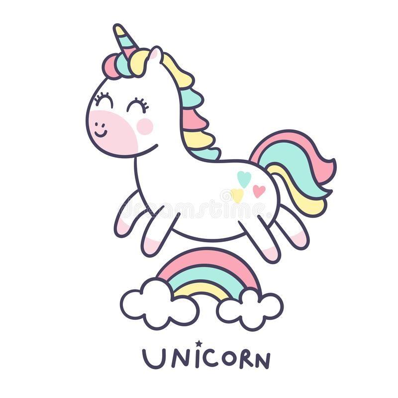 Cute Unicorn Cartoon Little Pony Jump On Air With Rainbow Cartoon