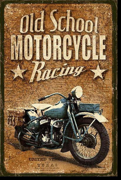 JF-0070-GR1 Cuadro Old School Motorcycle Racing