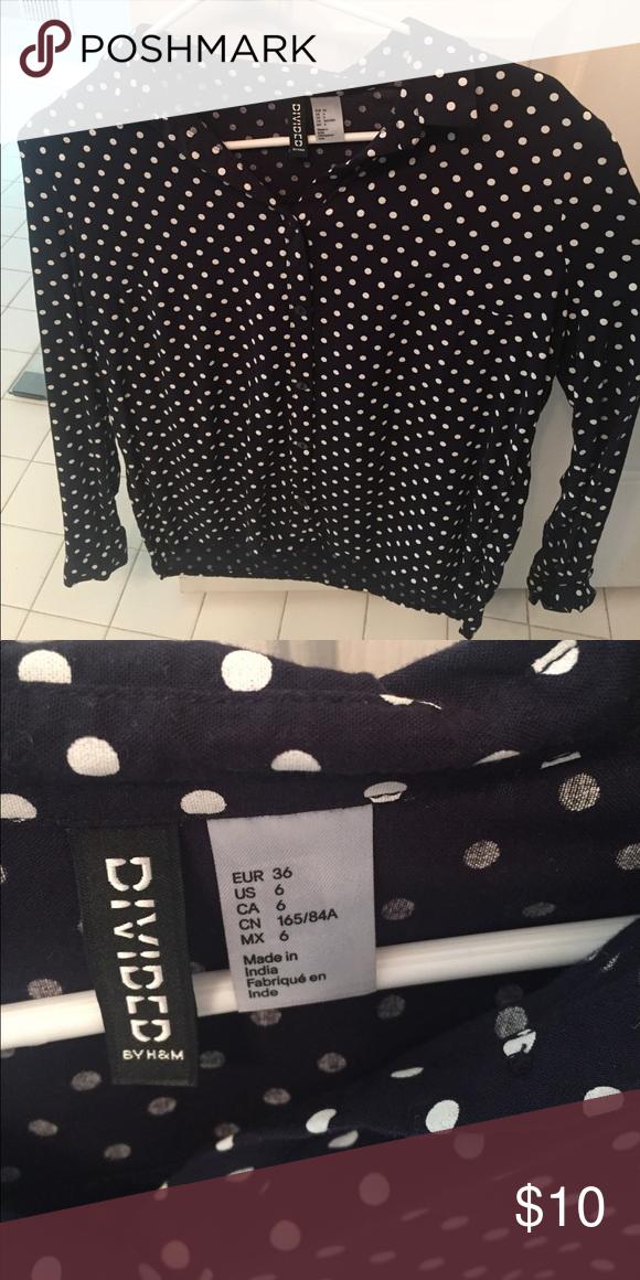 f52f0dd7b H&M white polka dot button down blouse Beautiful blue and white polka dot  blouse Divided Tops Button Down Shirts