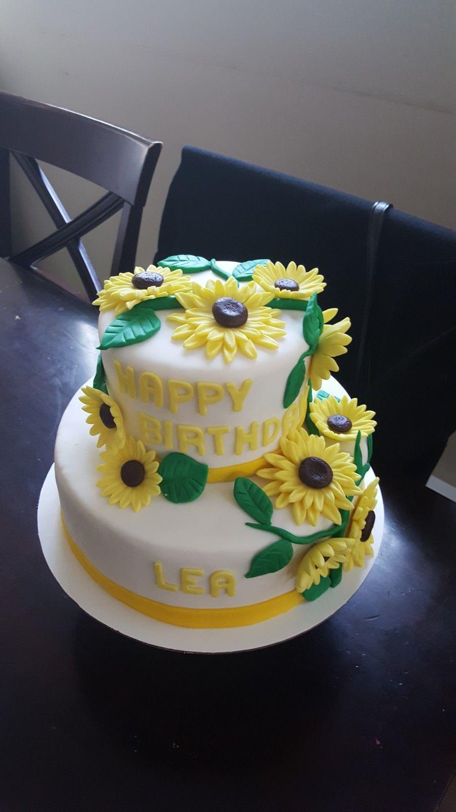 Pleasing Sunflower 2 Tier Cake With Images Sunflower Birthday Cakes Funny Birthday Cards Online Necthendildamsfinfo