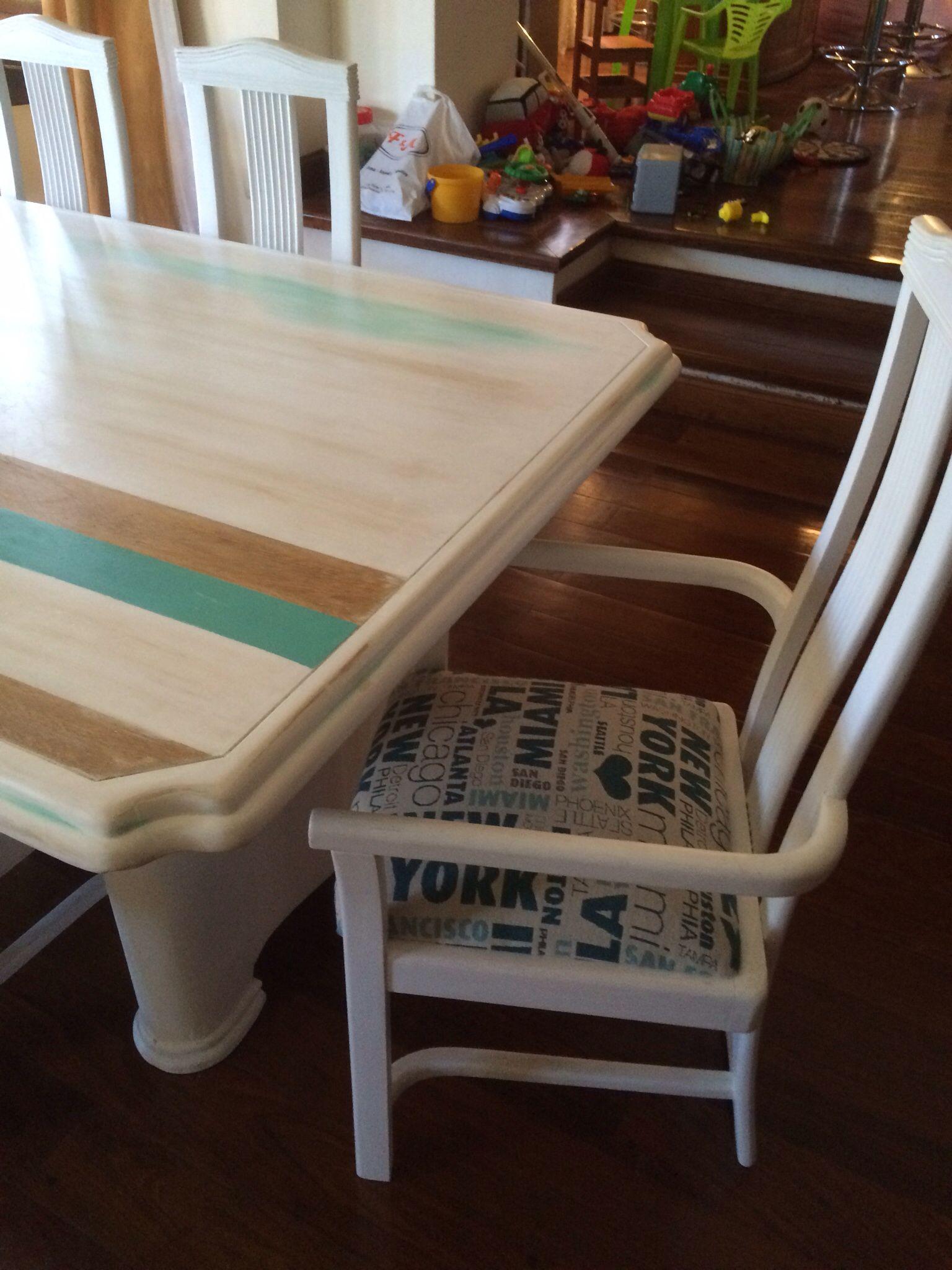 mesa y sillas patinado turquesa