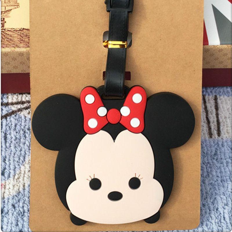 99ed984a114 Neue Mickey Minnie Gepäckanhänger Reise Zubehör Tragbare Mode Cartoon TSUM  ID Adresse Gepäck Etiketten Koffer Bord