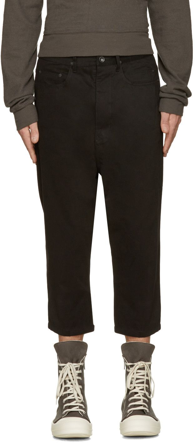 RICK OWENS DRKSHDW Black Cropped Astaires Trousers. #rickowensdrkshdw #cloth #trousers
