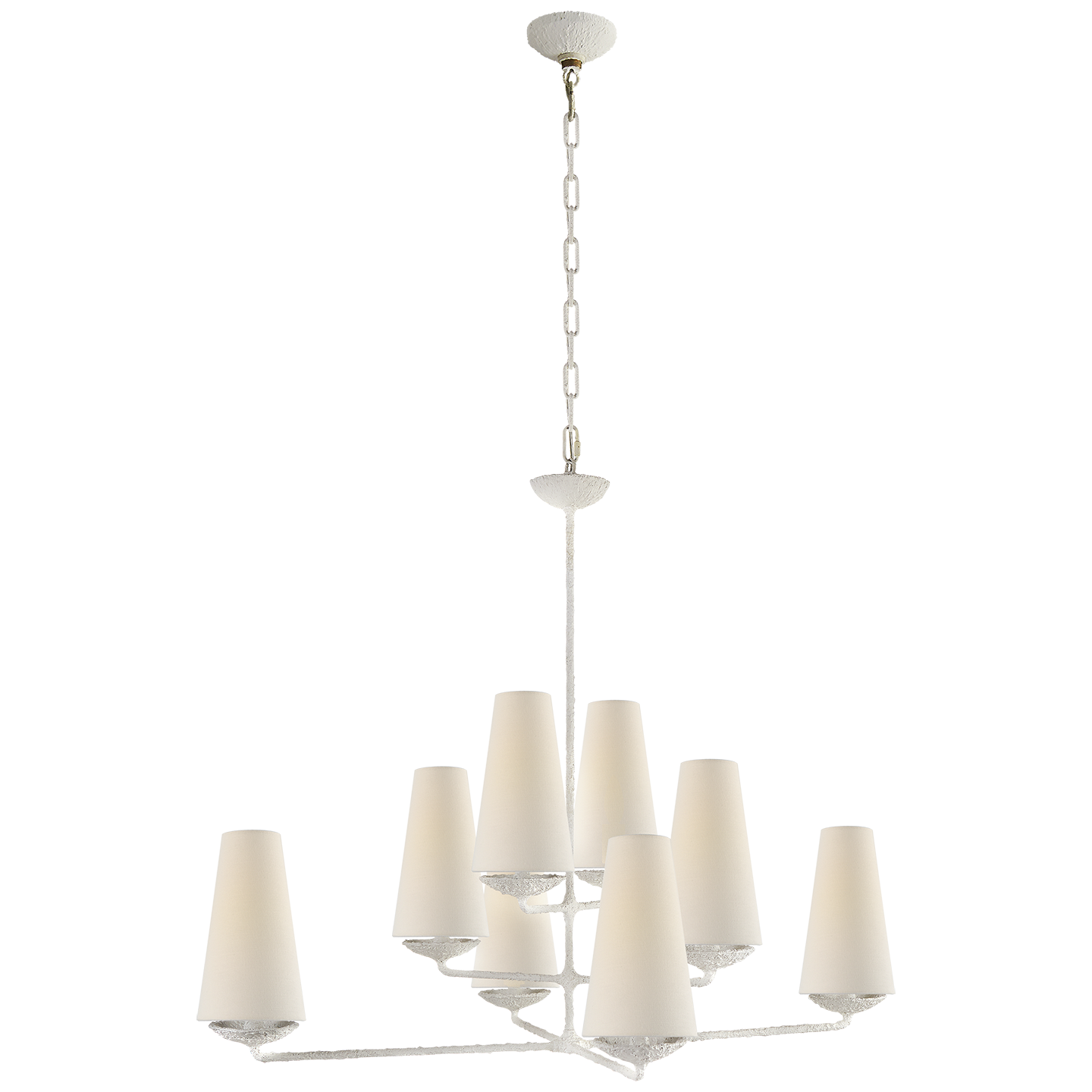 """Fontaine Large Offset Chandelier in Plaster White with Linen Shades Item # ARN 5205PL-L   Designer: AERIN Fixture Height: 33.5"""" Width: 35.5"""" Canopy: 5"""" Round Socket: 8 - E12 Candelabra Wattage: 8 - 40 B"""