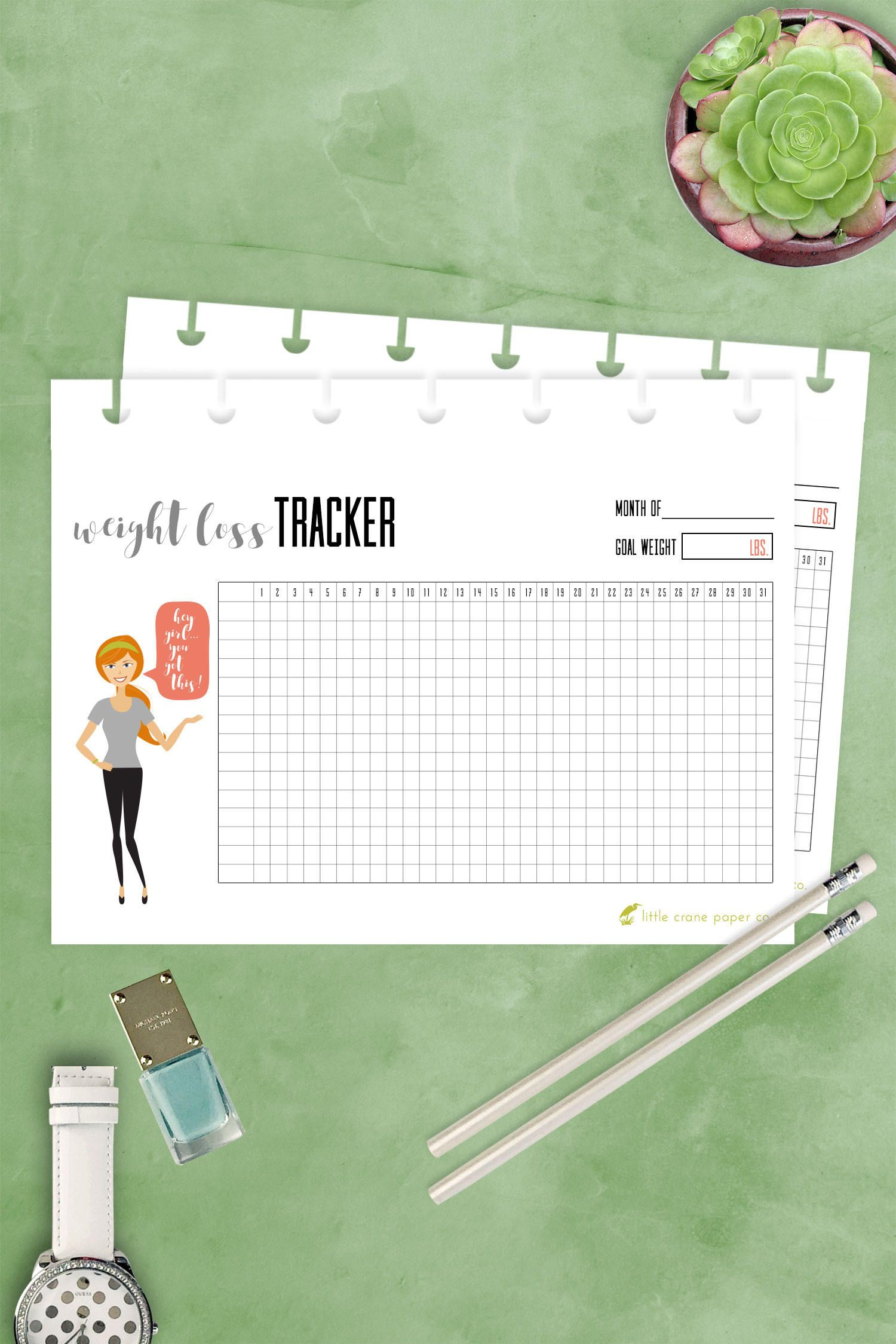 Weight Loss Tracker, Fits Happy Planner MINI, Print at Home, PDF ...