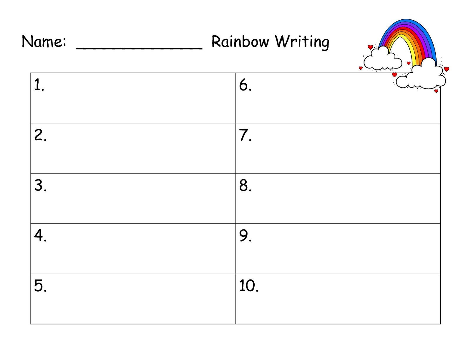 rainbow words template – Words Template