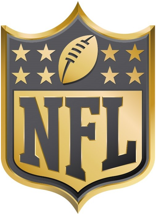 National Football League Anniversary Logo 2015 Nfl Shield Logo In Gold In Nfl Teams Nfl Football Nfl