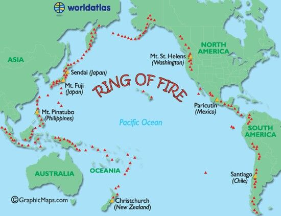 What and Where is the Ring of Fire? The large series of volcanoes - copy world map with ocean trenches
