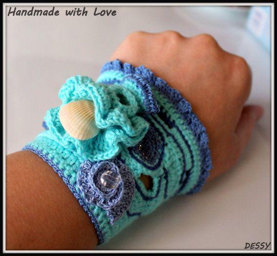 Crochet cuff bracelet  Sea reef by WithLovebyDessy on Etsy, $30.00