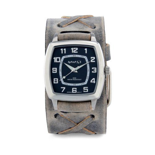 Nemesis Men's FXB017K Classic Vintage Charcoal X Leather Cuff Band Quartz Watch Nemesis. $48.00. Durable mineral crystal protects watch from scratches. Quartz movement. Case diameter: 37 mm. Water-resistant to 99 feet (30 M). Stainless steel case