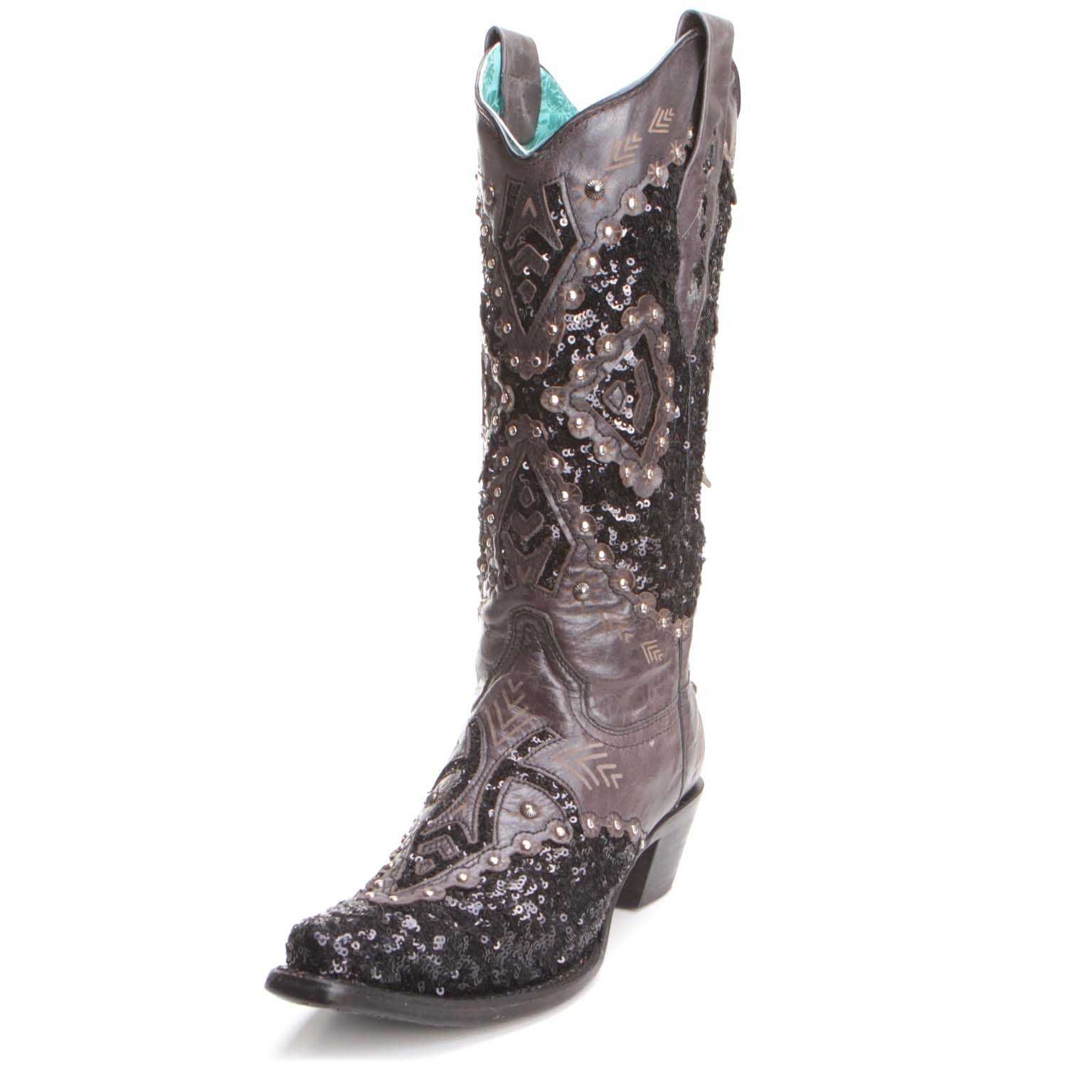 018f4acc274 Gorgeous Black Corral Women's Sequin Inlay Cowboy Boots are edgy ...