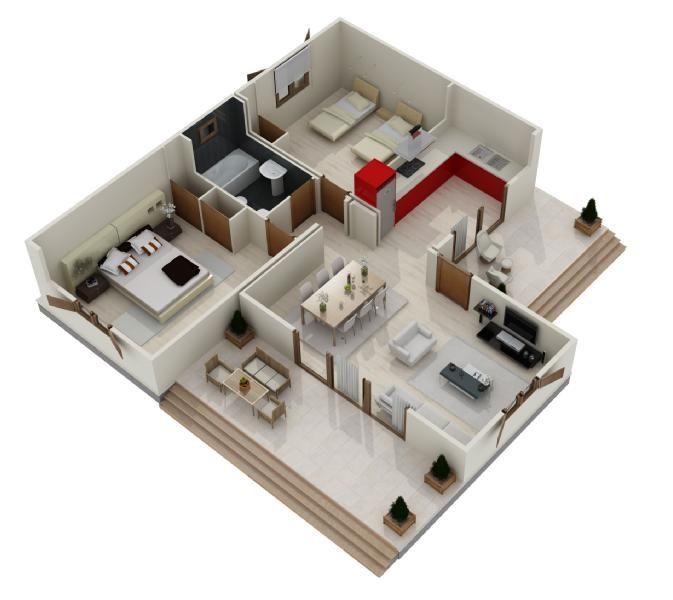 Modelos de casas de una planta 3 dormitorios buscar con for Planos de casas pequenas de una planta