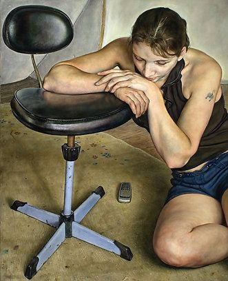 """Girl resting on swivel chair"" - Michael Taylor, oil on canvas {contemporary #hyperreal figurative realism woman painting}"