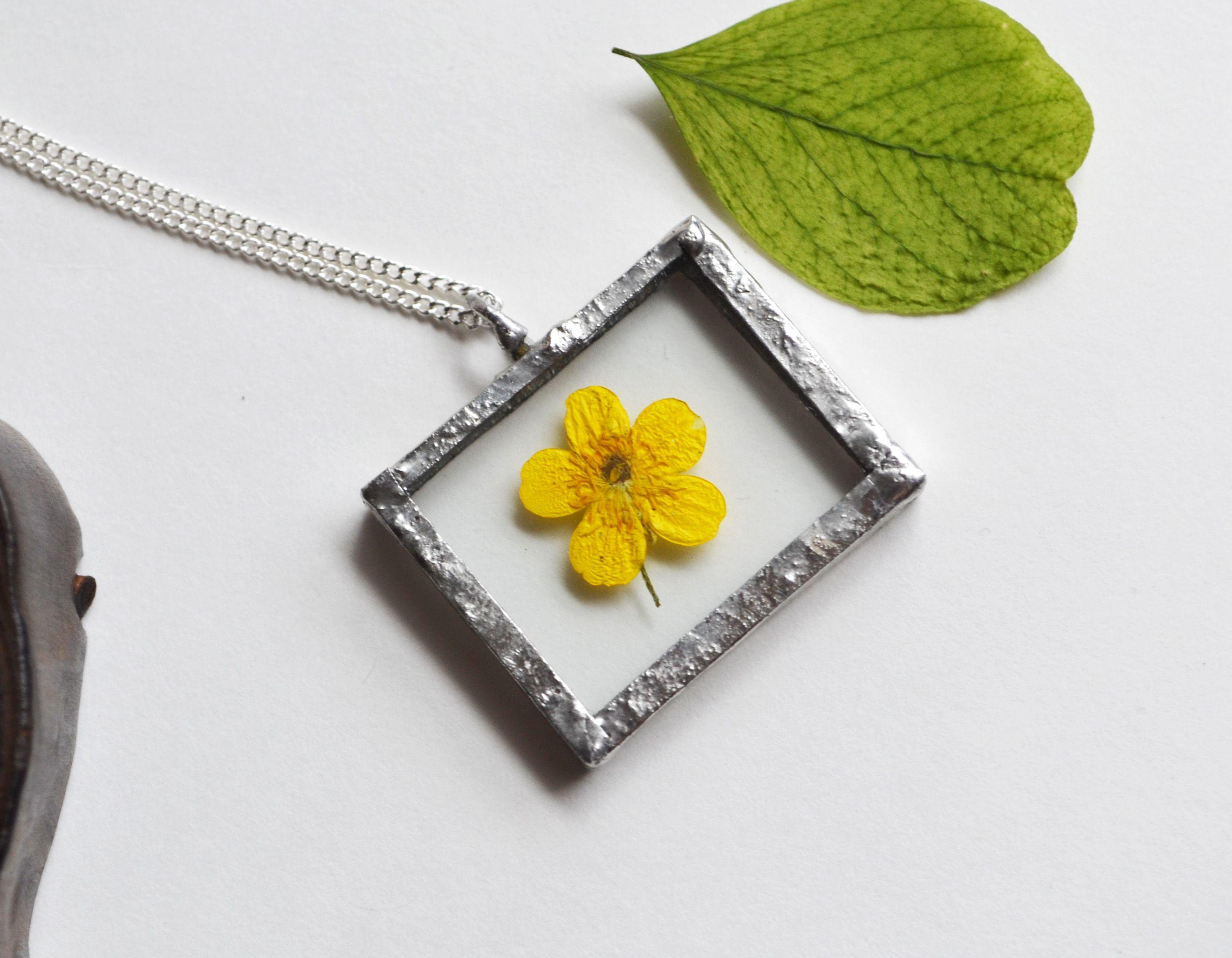 Buttercup Flower Glass Necklace