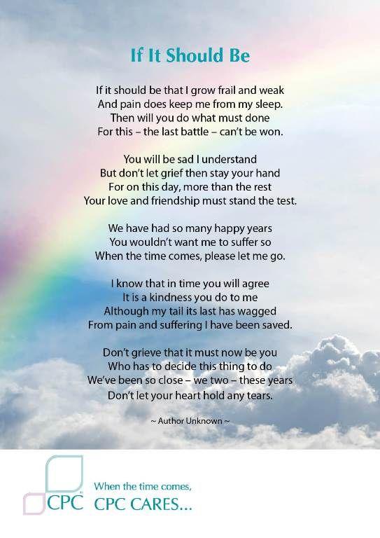 If It Should Be - Pet Bereavement Poem | Quotes | Pet ...