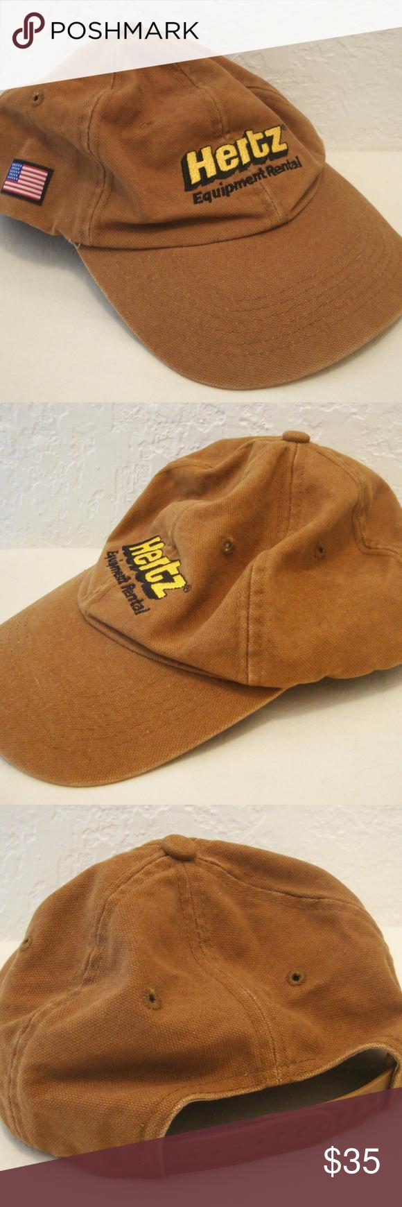 Hertz Equipment Rental Trucker Cap Tan Canvas Hat Trucker Cap Canvas Hat Black Logo