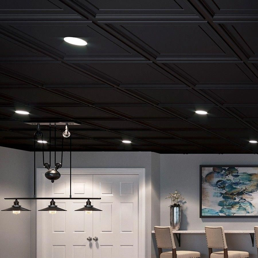 Genesis Ceiling Tile 2x2 Icon Coffer In Black In 2020 Black Ceiling Tiles Finishing Basement Ceiling