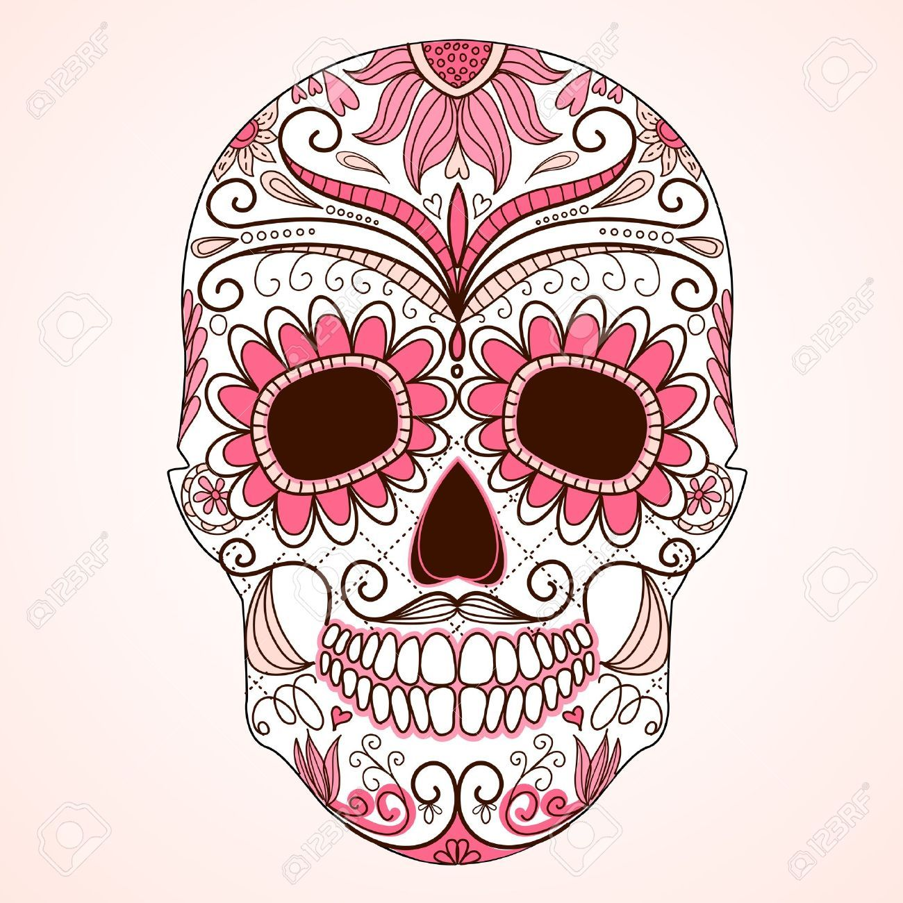 Day of the dead colorful skull with floral ornament tatoo tattoo