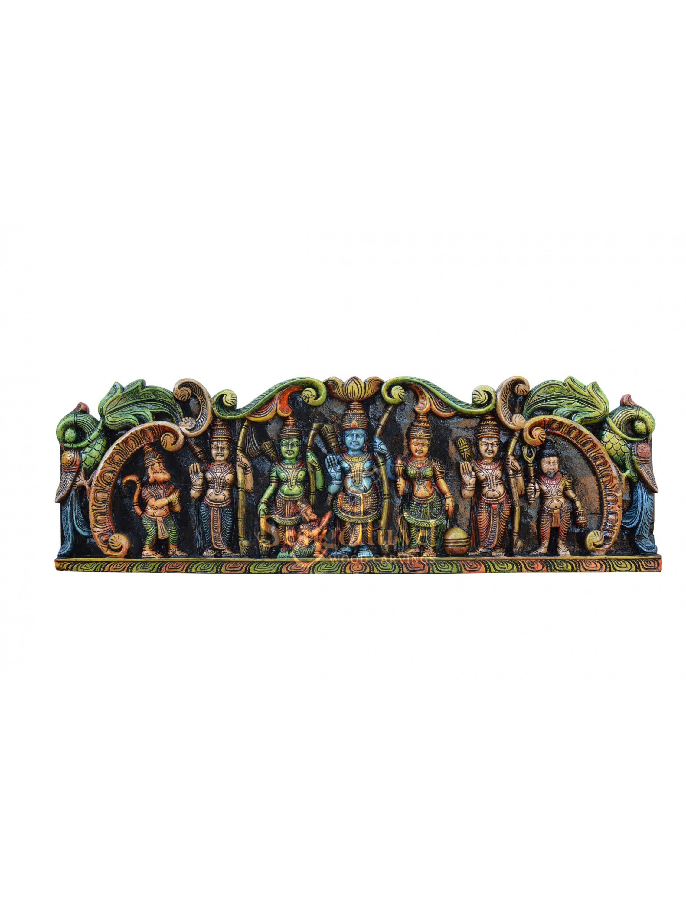 Rare multicolor wooden wall panels hanging door mount hand carved home decor art