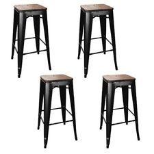 AmeriHome Loft Black Metal Bar Stool w/Wood Seat- 4 Piece BS030BWTSET Bar Stool