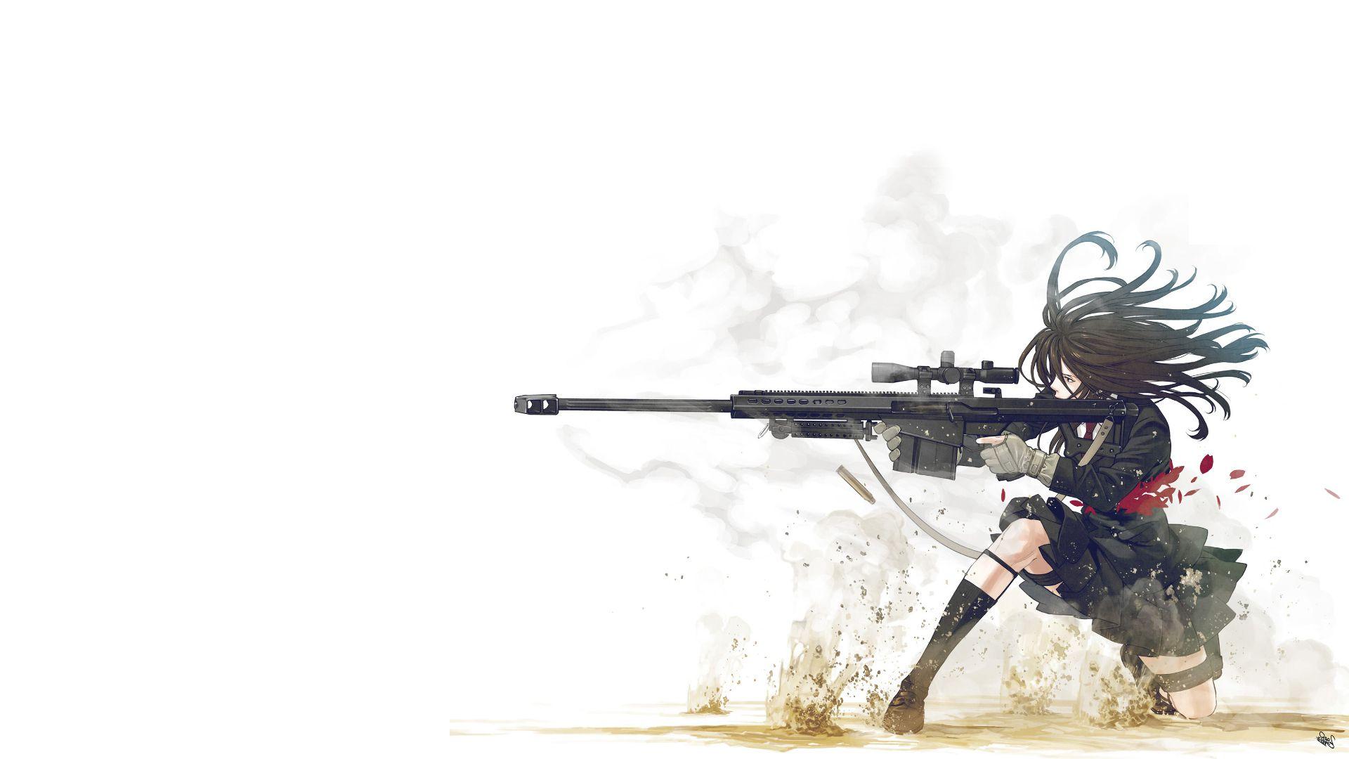 Anime Girl With Gun HD Wallpaper 1920x1080 girl