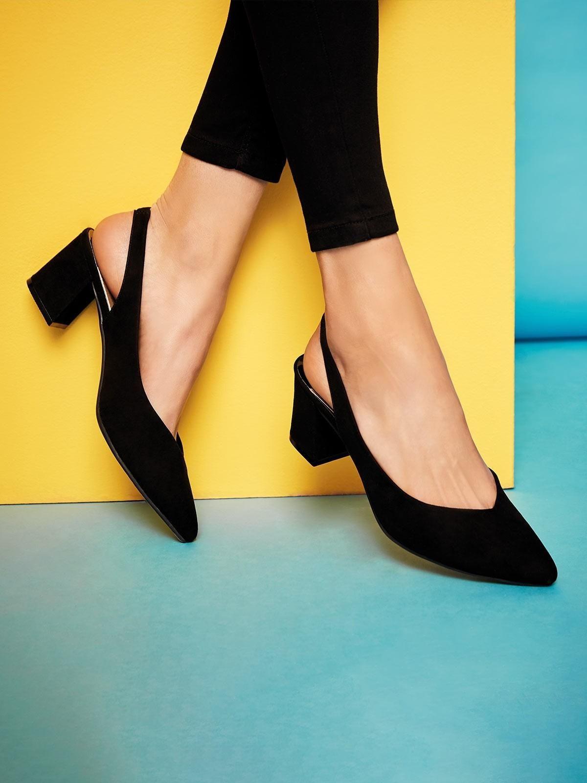 Womens Black Sling Back Block Heels