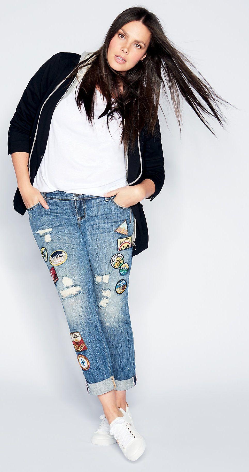 8f7fc26d6e8 Plus Size Vintage Premium Boyfriend Jeans