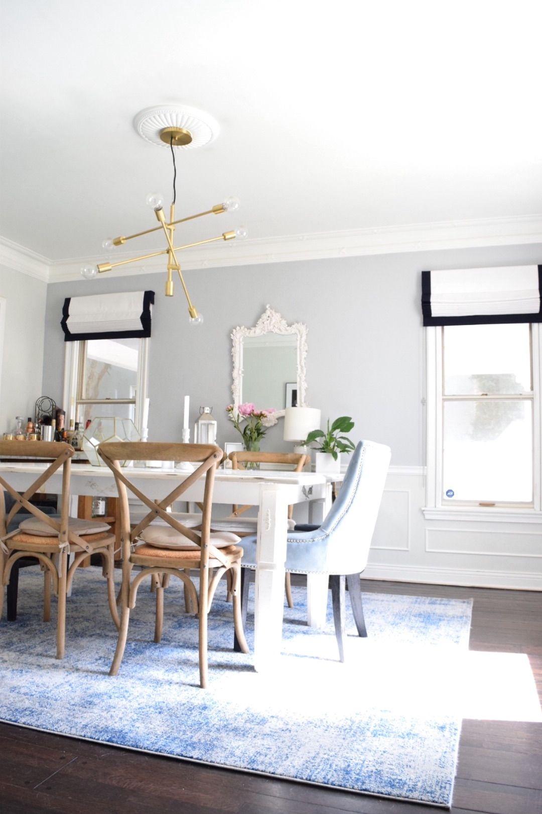 The Shade Store Roman Shades   Dining Room Renovation! Blue Coastal Chic |  The Beauty Blender By Danielle Cuccio