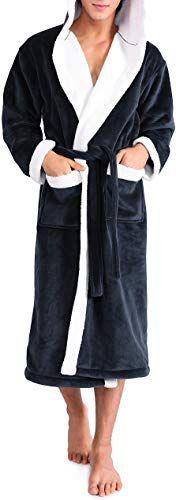DAVID ARCHY Mens Hooded Fleece Plush Soft Shu Velveteen Robe Full Length Long Bathrobe
