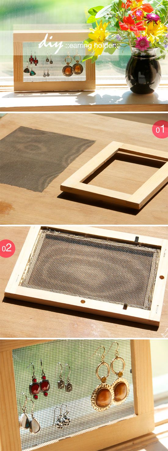 diy earing holder old frame spray paint perfect solution to make to know pinterest. Black Bedroom Furniture Sets. Home Design Ideas