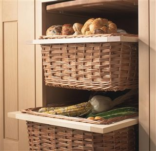 Kitchens Pull Out Wicker Basket Drawer