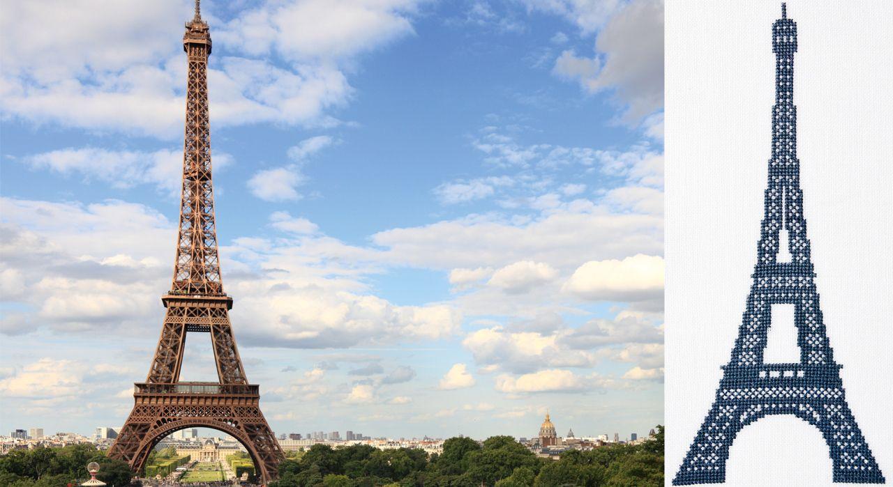 La Tour Eiffel au point de croix
