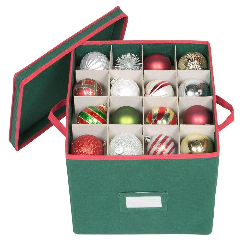 Ornament Storage Box 64 Compartment Cube Organizer Green ...