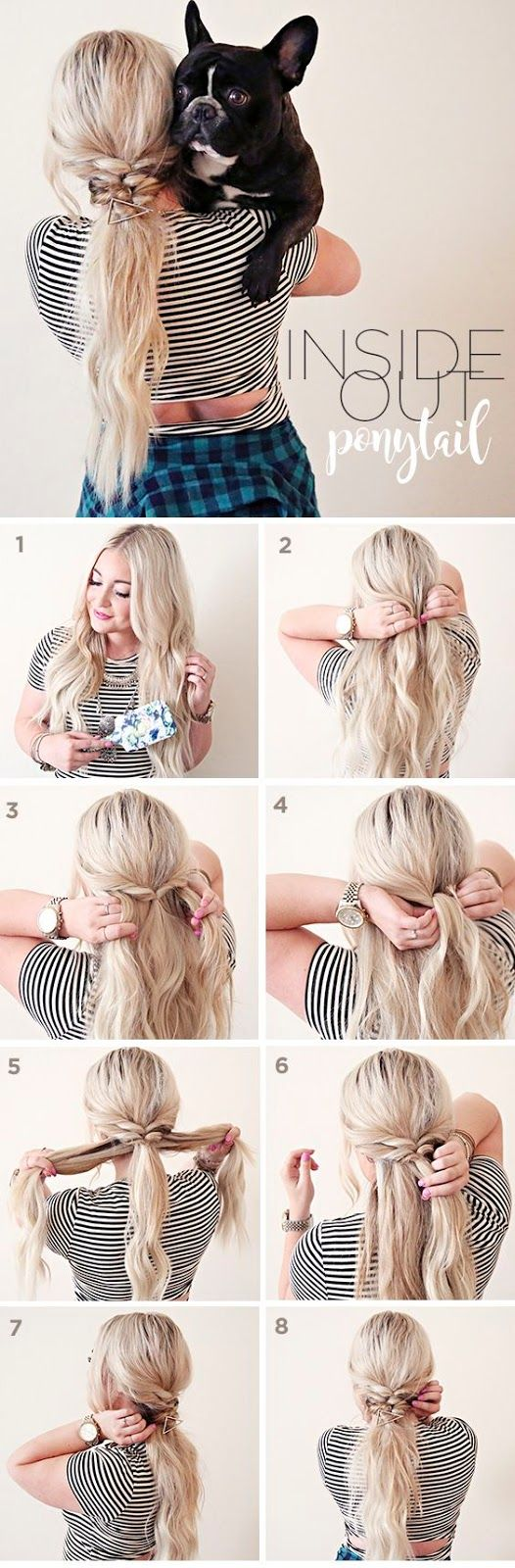 Hair Inside Out Ponytail With Scunci Hair Styles Hair Beauty Hair Makeup