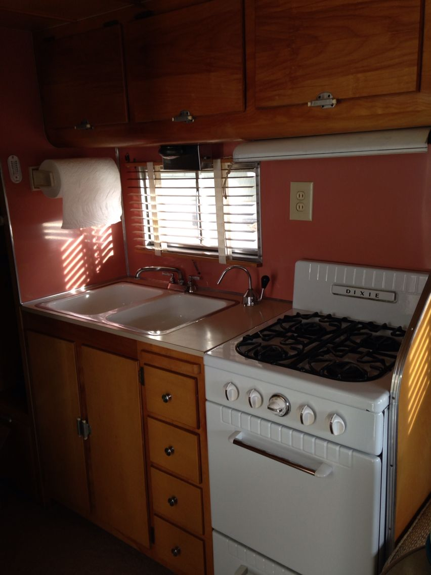 Aljoa sportsman vintage camper interior trailer kitchen circa 1954
