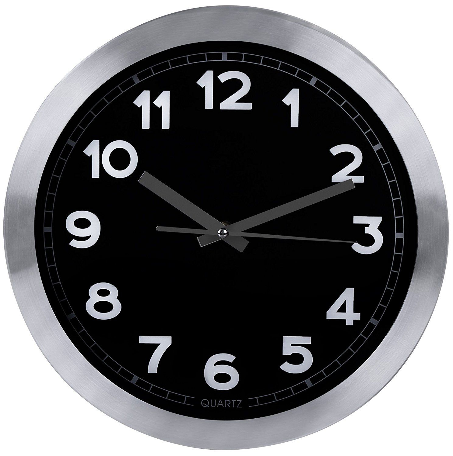 Utopia Home Decorative 12 Inch Black Wall Clock Aluminum Non Ticking Silent Sweep Function Black Dial With White Numbers Silver Hands Battery Operate Med