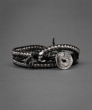 Silver Beaded Leather Bracelet