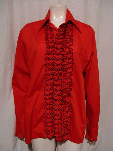 Fab vintage 60s 70s red w black ruffled front for Red ruffled tuxedo shirt
