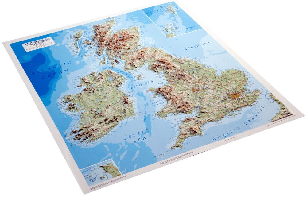 UK  Ireland 3D Relief Map A stunning relief map of the British