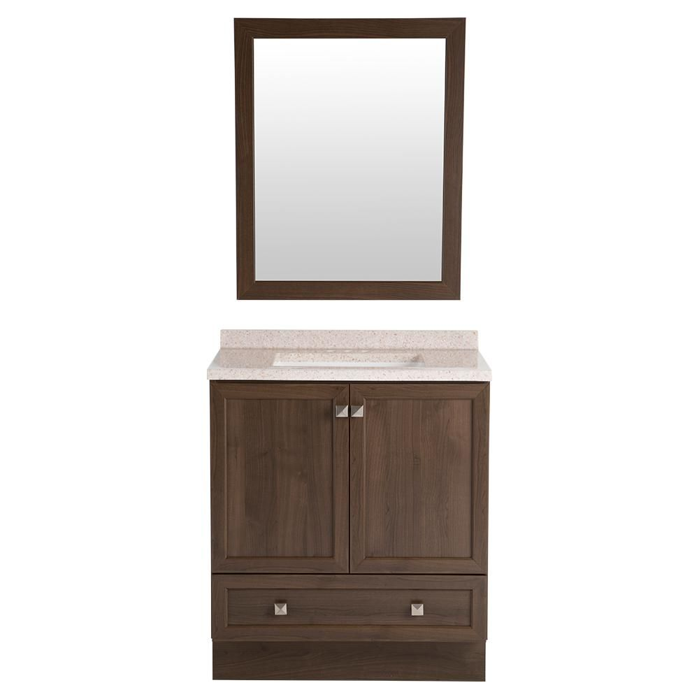 Glacier Bay Brookleigh 30 5 In W Vanity In Bark With Solid Surface Vanity Top In Corsica With