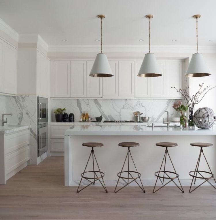 Des Idées De Bar Moderne Pour Votre Maison: Dosseret Et Plan De Travail Marbre Pour La Cuisine- 80
