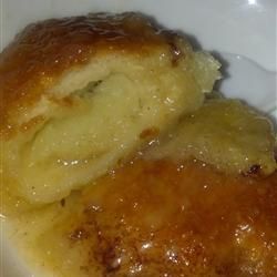 Country Apple Dumplings - most reviewers said to use half the butter and sugar and be sure to only pour soda around the edges. Half the sugar should also be brown sugar. Many used reduced fat rolls and Splenda with diet soda as well. One suggested baking the dumplins for about 10 minutes before pouring over the sauce. One suggested rolled the apples in cinnamon sugar before rolling them up in the dough.