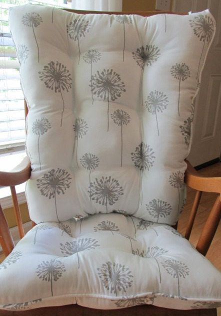 Free Shipglider Or Rocking Chair Cushions Set In Grey Dandelions