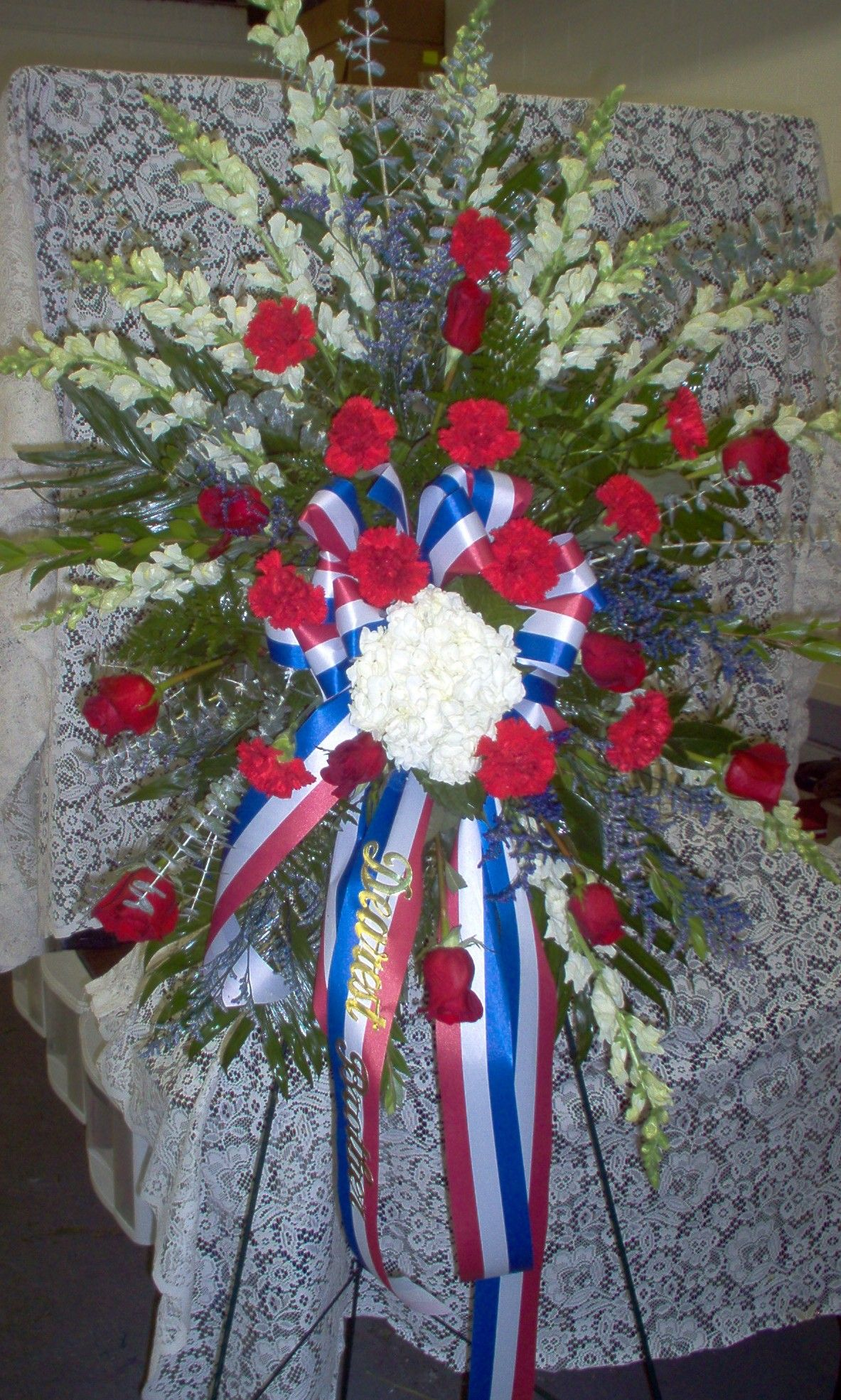 Standing spray red white and blue pinteres standing spray red white and blue more funeral arrangementsflower izmirmasajfo
