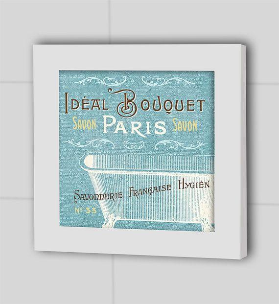 Paris Print French Art Bathroom Wall Decor Bathroom Art Shower
