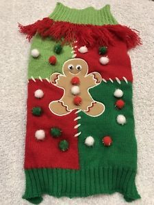 Dog Sweater Size M Pet Clothes Stuff Red En Knitted Gingerbread Man Balls    eBay
