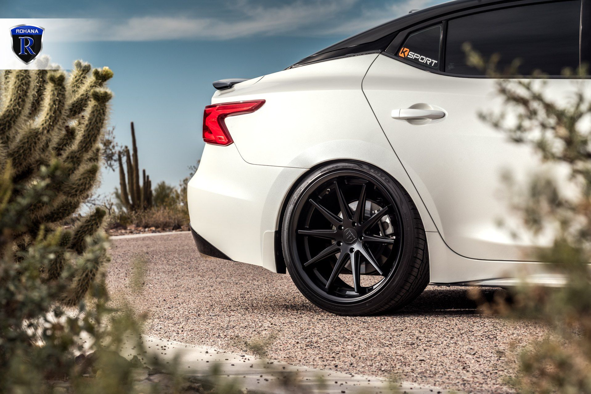 Matte Black Rohana Wheels And Blacked Out Mesh Grille Contrast With White Nissan Maxima Carid Com Gallery Nissan Maxima Nissan Rohana Wheels