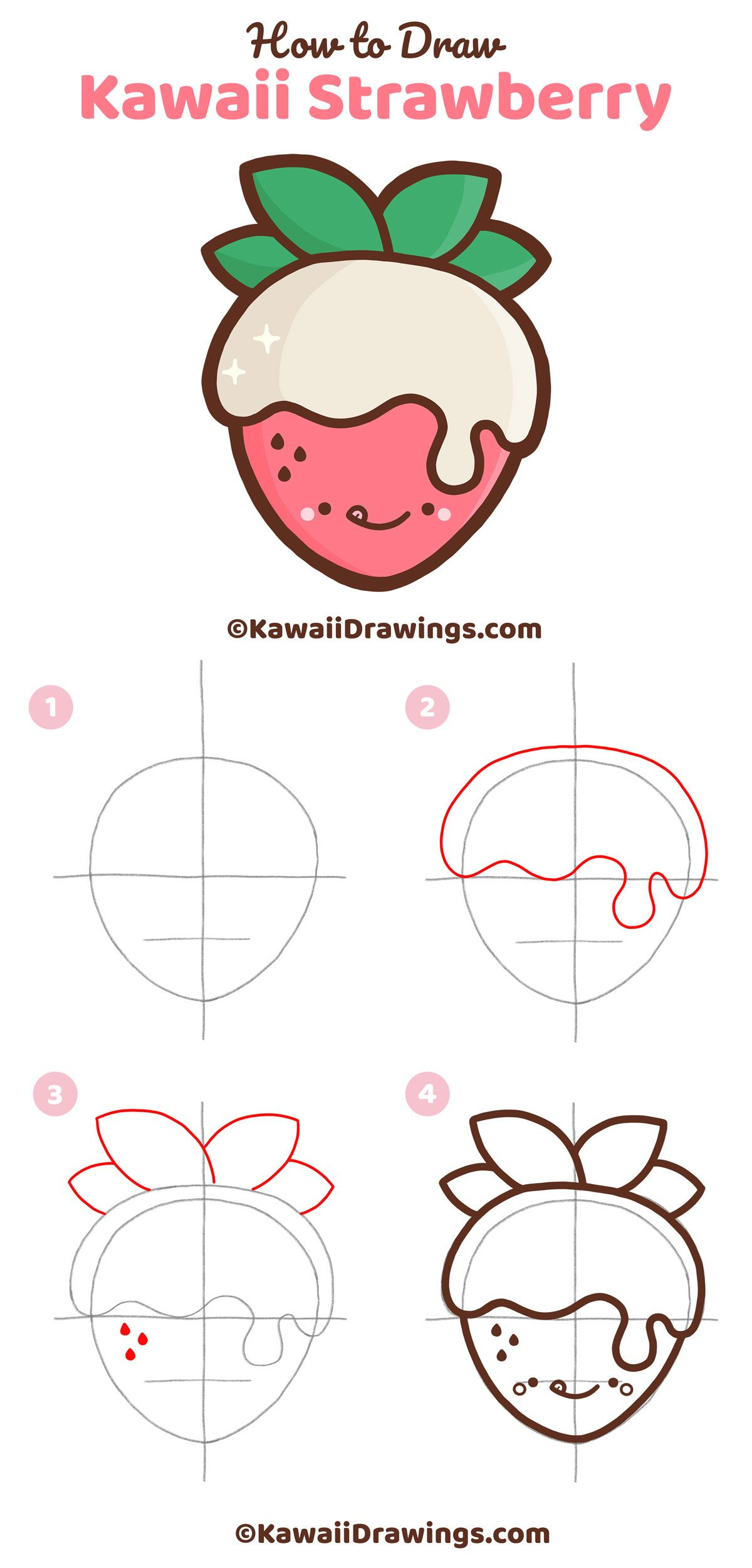 Strawberry Drawing Cute : strawberry, drawing, Strawberry, Drawings,, Kawaii, Drawings