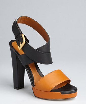 Fendi black and honey leather colorblock stacked heel sandals