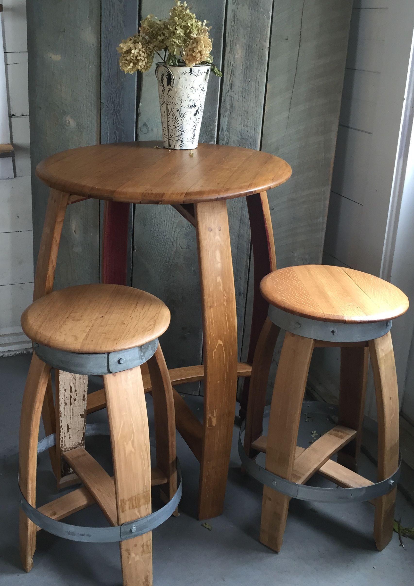 Custom Made Wine Barrel Bistro Table Indoor Outdoor